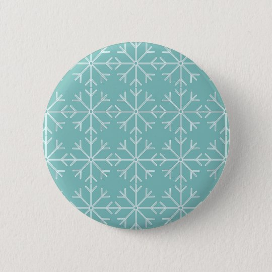 Snowflake  pattern - blue and white. 2 inch round button