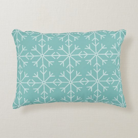 Snowflake  pattern - blue and white. accent pillow
