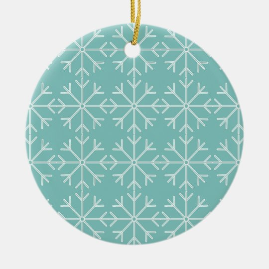 Snowflake  pattern - blue and white. ceramic ornament