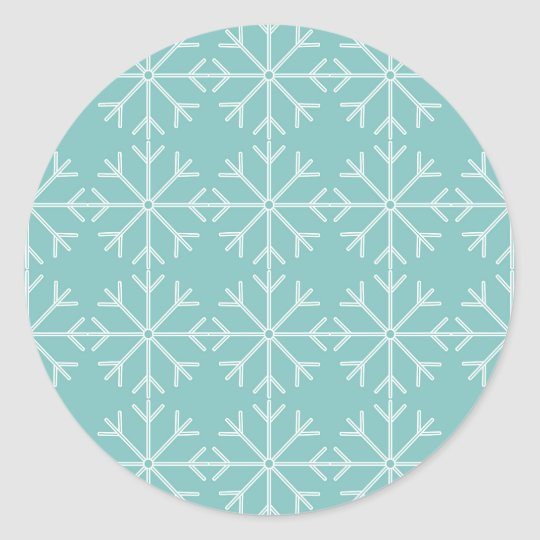 Snowflake  pattern - blue and white. classic round sticker