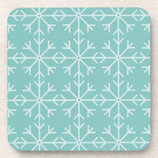 Snowflake  pattern - blue and white. coaster