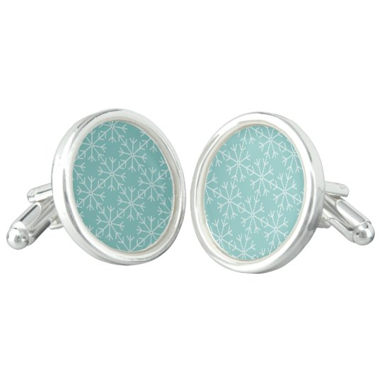 Snowflake  pattern - blue and white. cufflinks