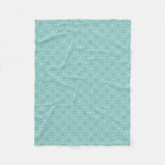 Snowflake  pattern - blue and white. fleece blanket