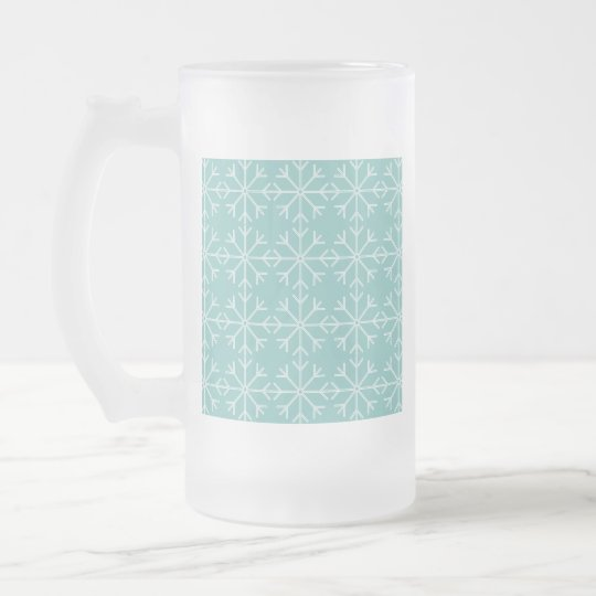 Snowflake  pattern - blue and white. frosted glass beer mug