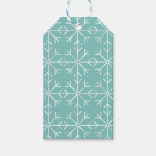 Snowflake  pattern - blue and white. gift tags