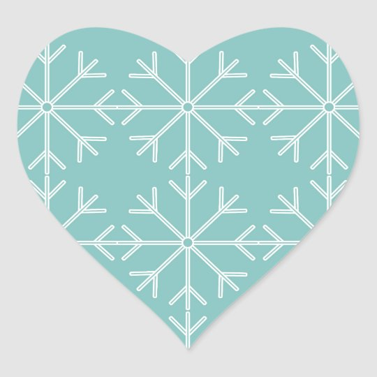 Snowflake  pattern - blue and white. heart sticker