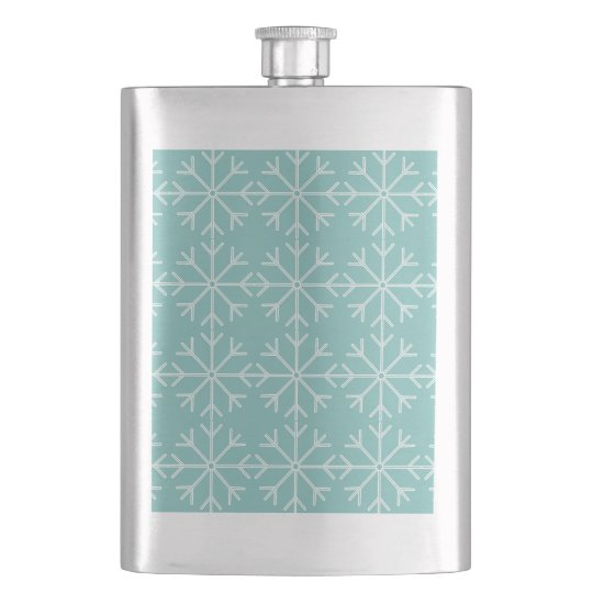 Snowflake  pattern - blue and white. hip flask
