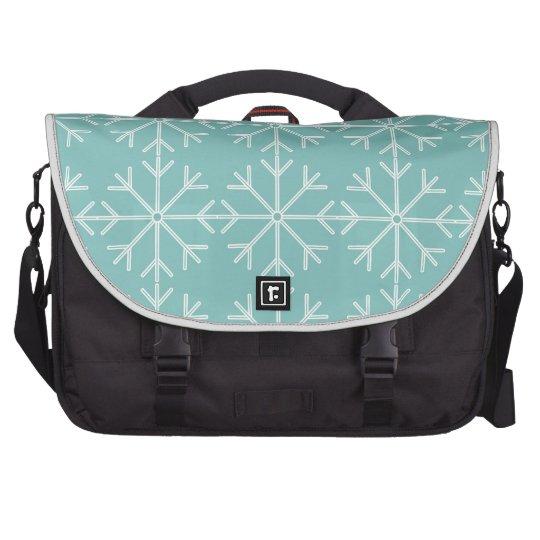 Snowflake  pattern - blue and white. laptop bag