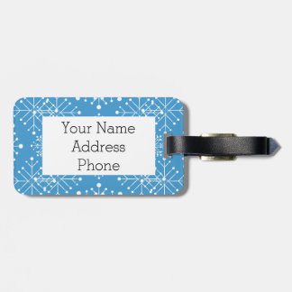 Snowflake Pattern, Blue and White Luggage Tag