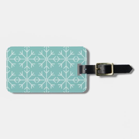 Snowflake  pattern - blue and white. luggage tag