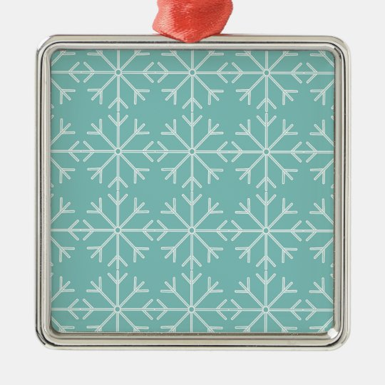 Snowflake  pattern - blue and white. metal ornament