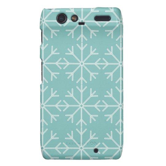 Snowflake  pattern - blue and white. motorola droid RAZR covers