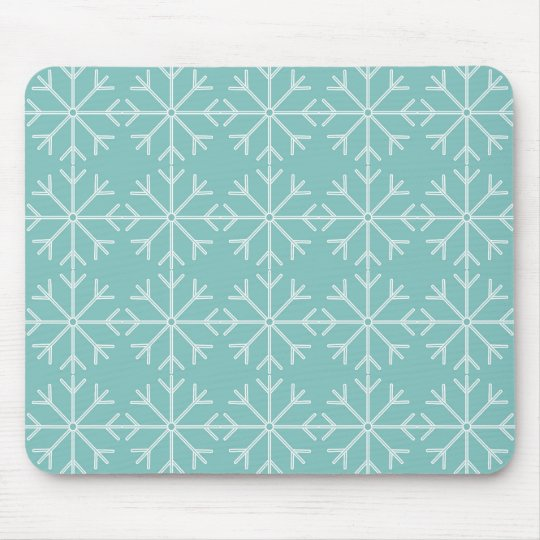 Snowflake  pattern - blue and white. mouse pad