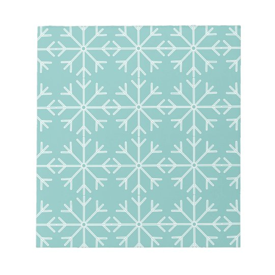 Snowflake  pattern - blue and white. notepad
