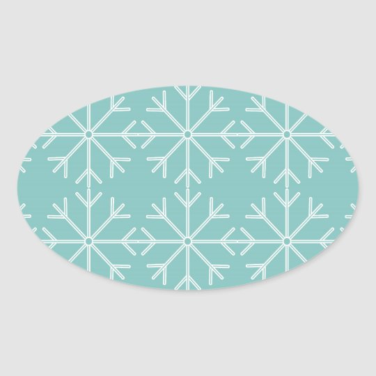 Snowflake  pattern - blue and white. oval sticker