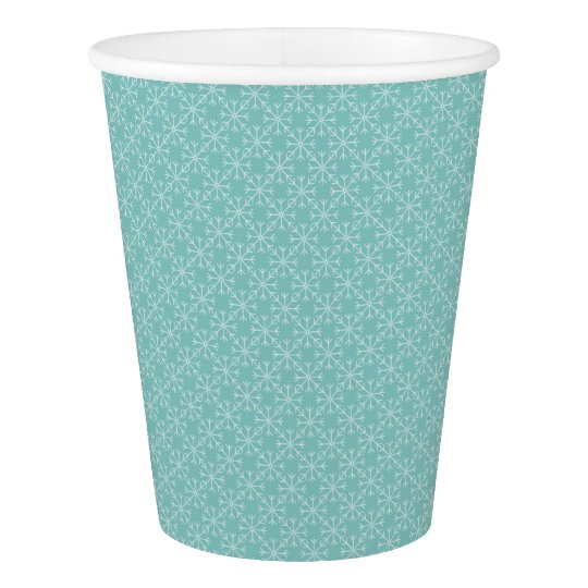 Snowflake  pattern - blue and white. paper cup
