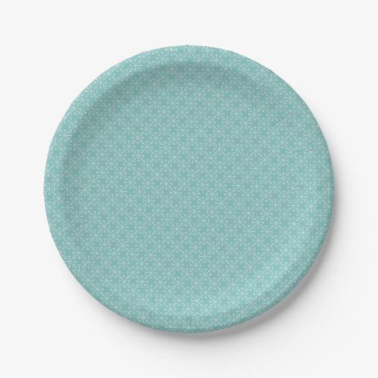 Snowflake  pattern - blue and white. paper plate