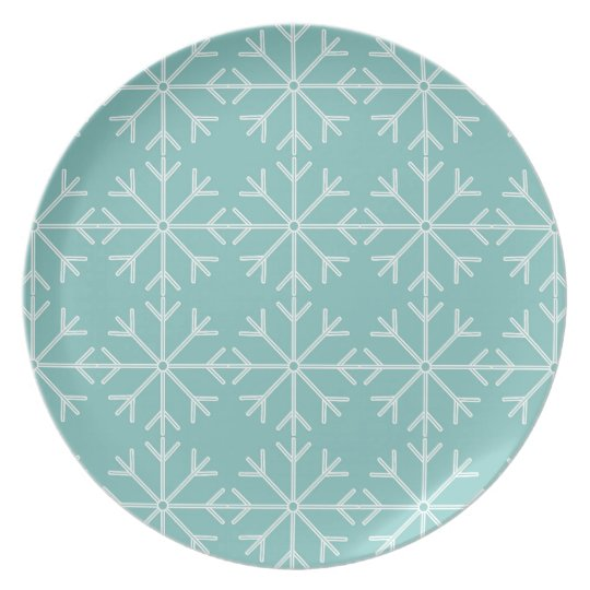 Snowflake  pattern - blue and white. plate