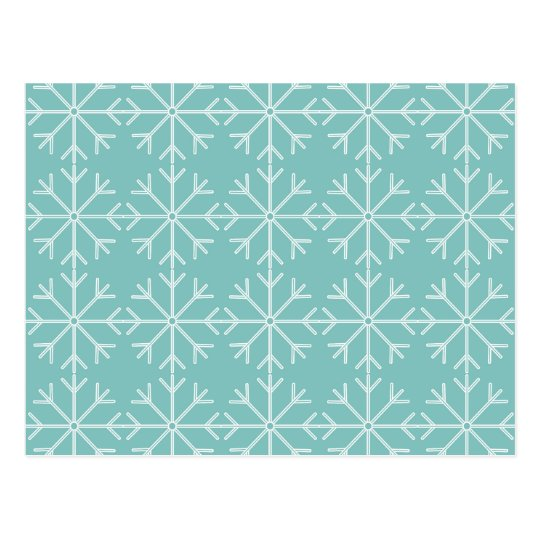 Snowflake  pattern - blue and white. postcard