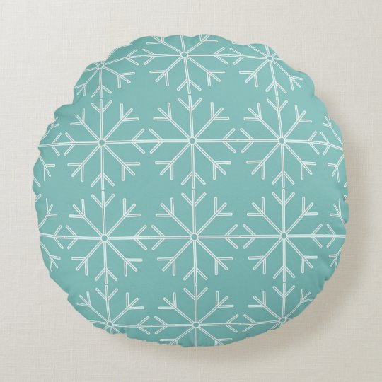 Snowflake  pattern - blue and white. round pillow