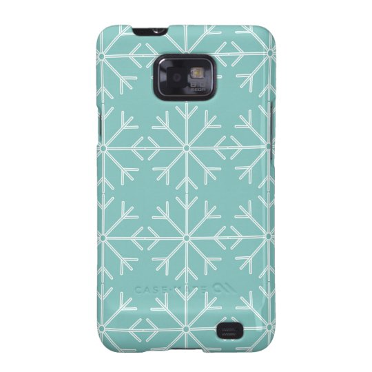 Snowflake  pattern - blue and white. samsung galaxy SII cases