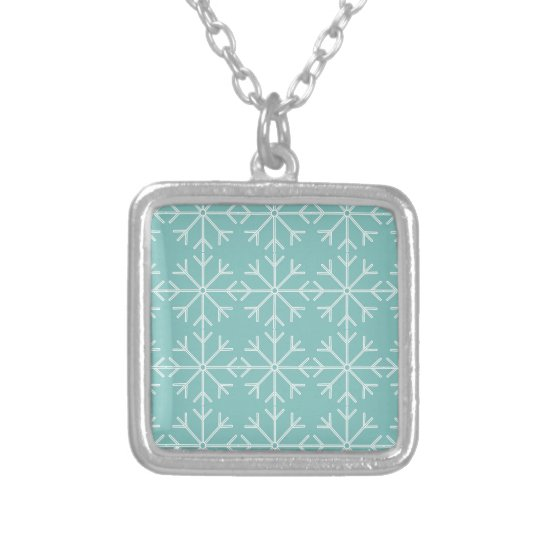 Snowflake  pattern - blue and white. silver plated necklace