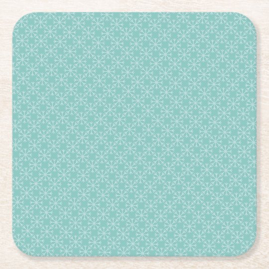 Snowflake  pattern - blue and white. square paper coaster