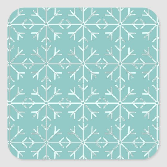 Snowflake  pattern - blue and white. square sticker