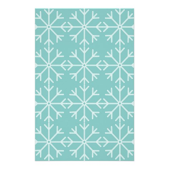 Snowflake  pattern - blue and white. stationery