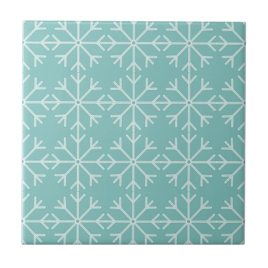 Snowflake  pattern - blue and white. tile