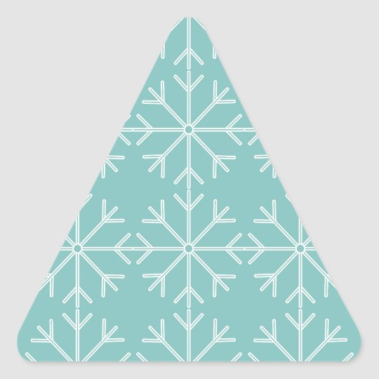 Snowflake  pattern - blue and white. triangle sticker