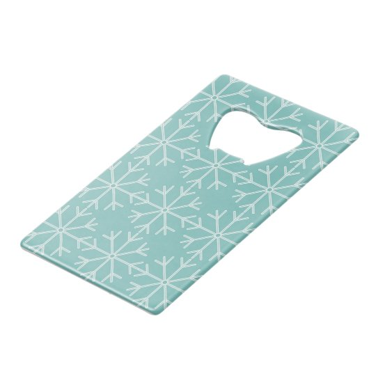 Snowflake  pattern - blue and white. wallet bottle opener