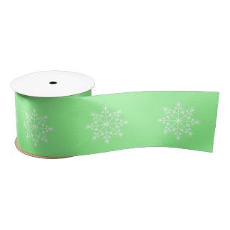 Snowflake Pattern Mint Green Christmas Holiday Satin Ribbon