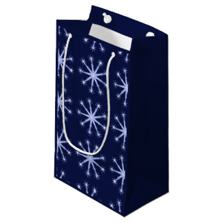 Snowflake pattern on night sky wrapping bag