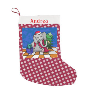 Snowflake Pattern Personalized Christmas Elephant Small Christmas Stocking