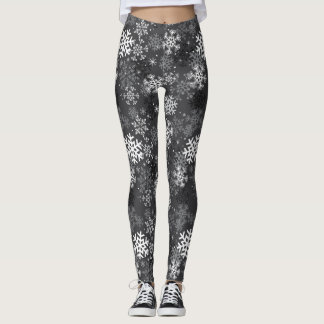 Snowflake Pattern Print Leggings, Gray Leggings