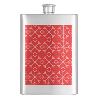 Snowflake  pattern - red and white. hip flask