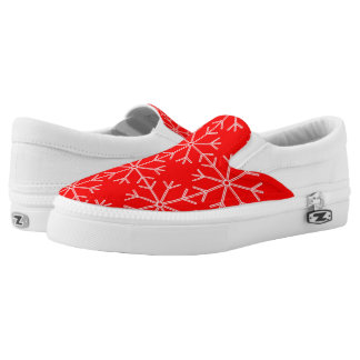 Snowflake  pattern - red and white. Slip-On sneakers