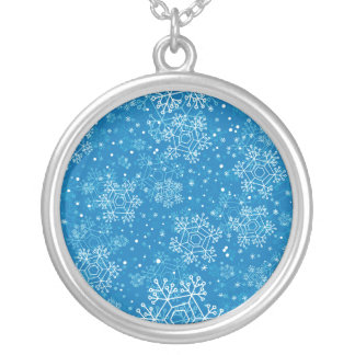 Snowflake pattern silver plated necklace