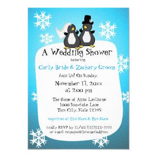Snowflake Penguin Couple's Shower 5x7 Paper Invitation Card