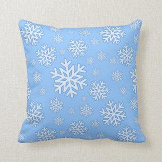 Snowflake pillow family room christmas time