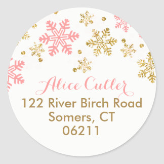 Snowflake Pink and Gold Address Label