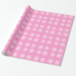 Snowflake pink white holidays wrapping paper