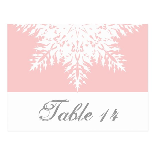 Snowflake pink, white winter wedding table number postcard