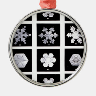 Snowflake Plates Weather Photography Silver-Colored Round Ornament