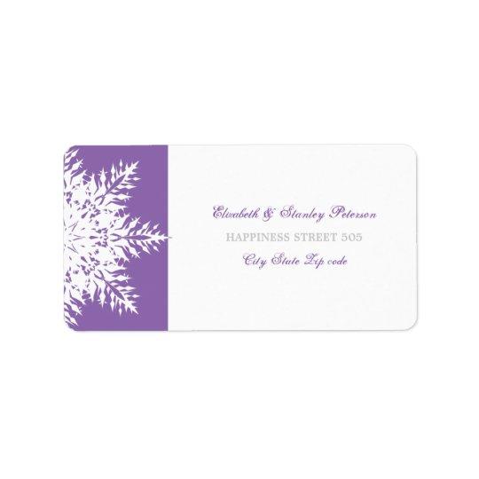 Snowflake purple white winter wedding label