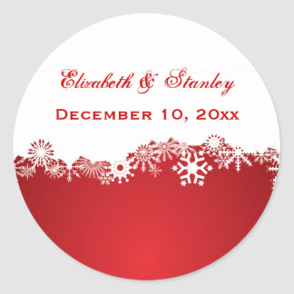Snowflake red white winter wedding Save the Date Classic Round Sticker