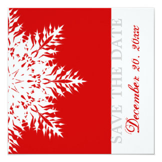 Snowflake red winter wedding Save the Date Card