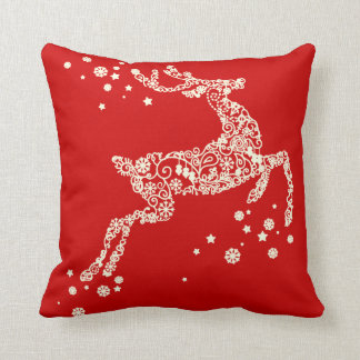 Snowflake Reindeer reversible Christmas Pillow