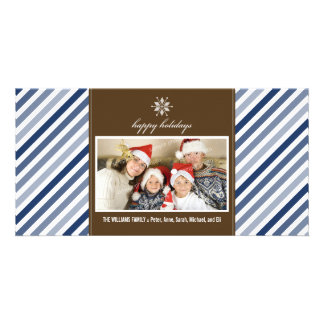 Snowflake Ribbon Family Holiday Photocard (navy) Personalized Photo Card